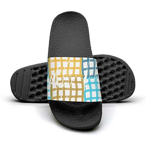 HSJDAPOCOAQ Checkered Yellow and Blue Summer Slides for Women ()
