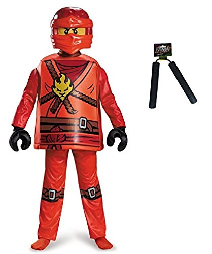[Ninjago Kai Deluxe Costume, Size Large (10-12) with Ninja Nunchaku & Treat Bag] (Lego Ninja Costume)