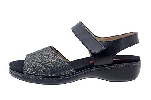 Calzado mujer confort de piel Piesanto 8807 sandalia velcro plantilla extraíble cómodo ancho Carbón