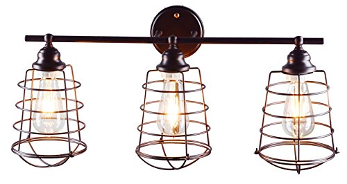 BTExpert 5075 Industrial Cage 3 Light Vanity Bathroom Farmhouse Fixture, Antique Oil Bronze Rustic