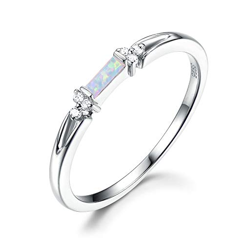 14k White Gold Baguette Cut Opal Wedding Ring Cluster CZ Diamond Vintage Engagement Women Jewelry