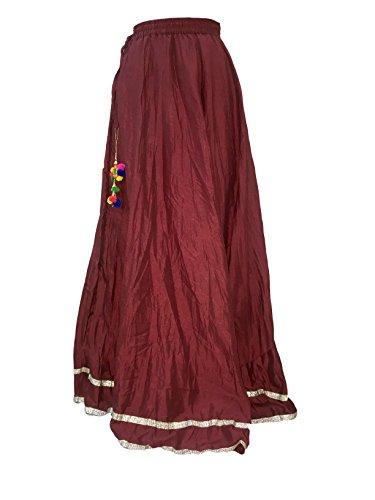 Designer Women Skirt (Shararat Women's Flared Crushed Silk Free Size Wide Leg Skirt High Waist Sharara)