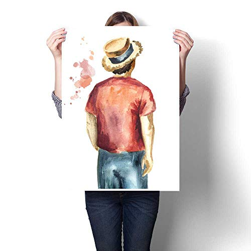 Art-Canvas Prints Guy in The red Shirt and in The Straw hat Standing with his Back to The viewer Isolated on White Background Watercolor Hand Drawn Illustration Customizable Wall Stickers 24