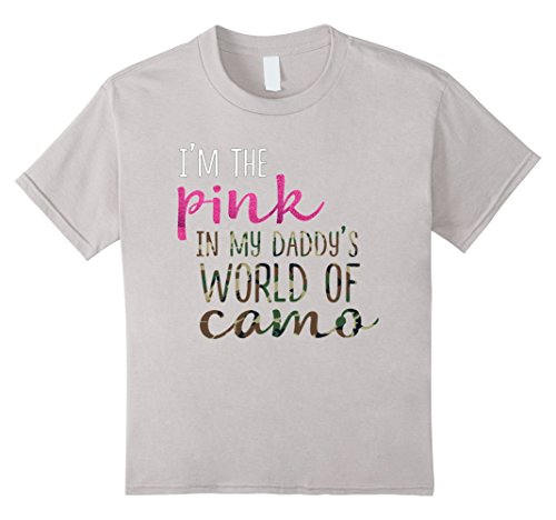 unisex-child Funny Daughter Shirt Pink Daddy World Camo Military Hunting 12 Silver