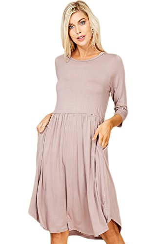 Annabelle Womens Round Neck Solid Pleated Loose Dress Taupe Grey Medium D5317 -