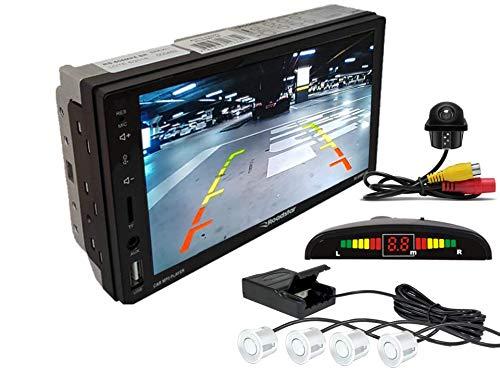 Multimidia Mp5 RS-505MP5 Com Câmera De Ré RS-122BR E Sensor De Estacionamento RS-104BR BRANCO