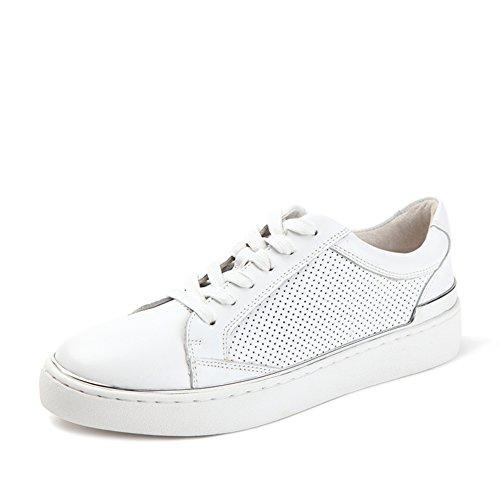 Otoño zapatos de correa de cuero de perforación/Zapatos skate blanco