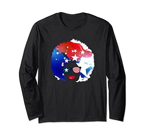 Unisex Natural Girl Long Sleeve American 4th of July T Shirt XL Black