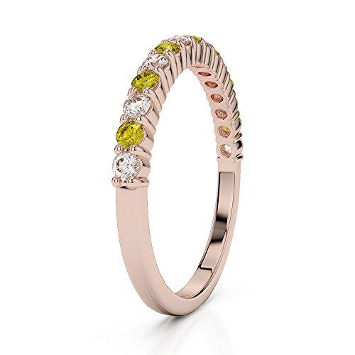 Or Rose 18carats 0,21CT G-H/VS Certifié Round Cut Saphir Jaune et diamants Agdr-1113