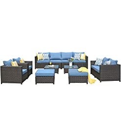 Garden and Outdoor ovios Patio Furniture Set, Big Size Outdoor Furniture 12 Pcs Sets,PE Rattan Wicker sectional with 4 Pillows and 2… patio furniture sets
