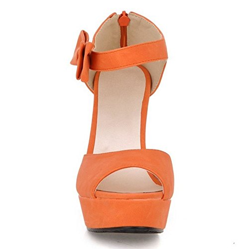 Zanpa Mujer Plataforma Ancho Tacon Sandalias de Bowknot Orange