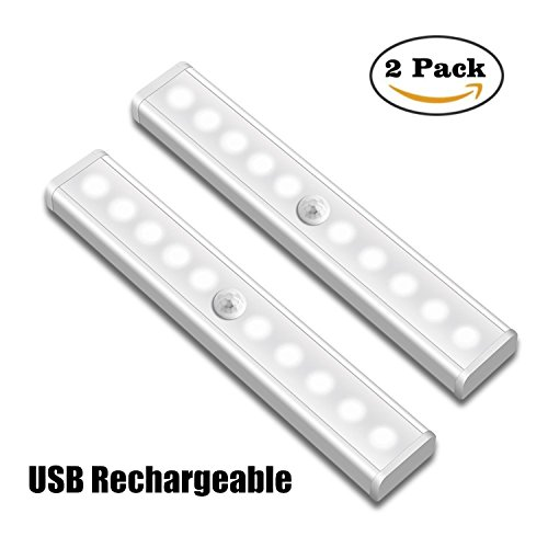 Motion Sensor Light, SLBFO 10 LED Operated Wireless Motion Sensor light Portable Magnetic Stick Up Closet Light for Closets Bathroom Stairway and More Place (2 Pack)