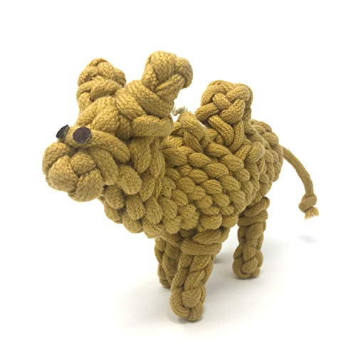 peaksNpaws Premium Natural Rope Toys - Handmade by Artisans in India with All Natural Cotton and Jute - Eco Friendly - Hours of Entertainment for Your Pup - Calvin The Camel