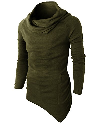 H2H Men's Hipster Hip Hop Hoodie Irregular Zipper T-shirt Knitted Pullover OLIVEGREEN US 3XL/Asia 4XL (KMTTL046)