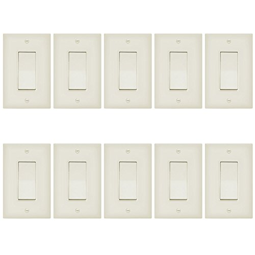 ENERLITES 3-Way Decorator Paddle Rocker Light Switch with Wall Plate, Single Pole or Three Way, 3 Wire, Grounding Screw, Residential Grade, 15A 120V/277V, UL Listed, 93150-LAWP, Light Almond (10 Pack)