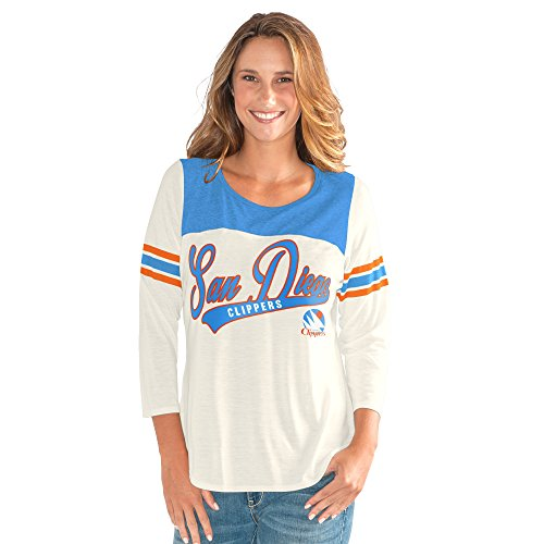 (GIII For Her NBA San Diego Clippers Women's End Zone 3/4 Sleeve Tee, XX-Large, Vintage White)