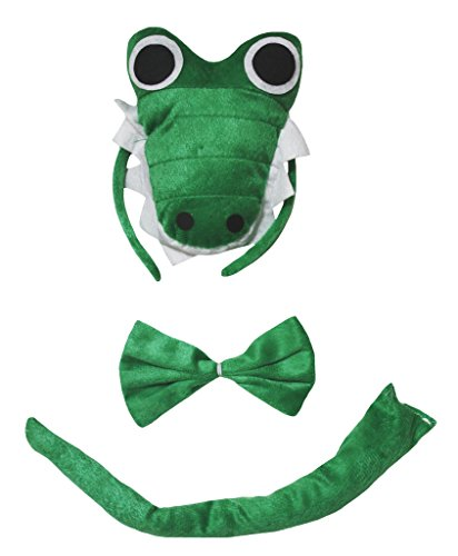 Petitebella 3D Green Crocodile Headband Bowtie Tail 3pc Costume Free Size (One Size) -