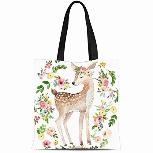 Ahawoso Canvas Tote Bag 14x16 Inches Colorful Vintage Tribal Boho Bright Watercolor Woodland Deer Baby Nursery Floral Durable Reusable Custom Shopping Shoulder Grocery Bag