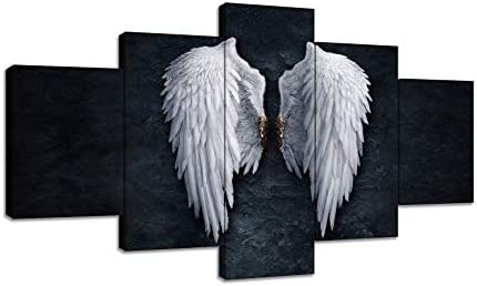 Urttiiyy Angel Wings Canvas Wall Art Angel Feather on Ground Wings Decor Paintings on The Wall Picture 5 Panels Large Posters Print