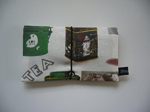 Büroteuse Tabaktasche / Drehertasche im Tea-Time-Design, jede Tasche ein Unikat! Ausverkauf! Tea-Time green