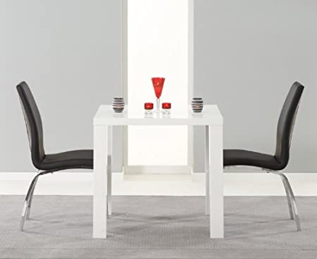 atlanta 80cm white high gloss dining table with 2 cavello black