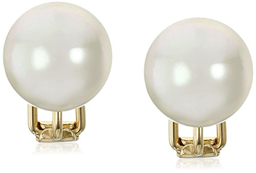 Gold Tone Vermeil Earrings (Majorica 14mm White Round Simulated Pearl 18k Gold Vermeil Clip-On Earrings)