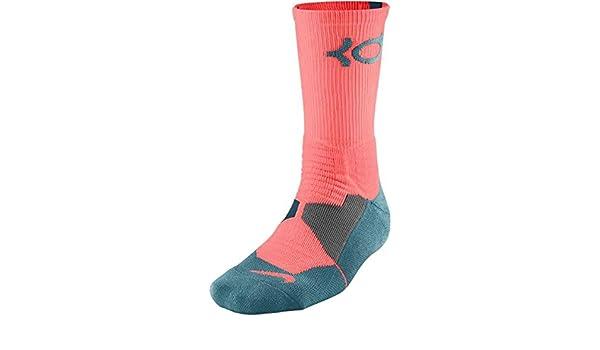 86a63d8ef9de Nike Men s KD Hyper Elite Cushioned Basketball Socks Large (8-12) Bright  Mango   Rift Blue-Space Blue