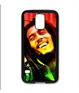 Samsung Galaxy S5 SV Black Rubber Silicone Case - Bob Marley Rasta Reggae Legend