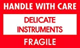 Tape Logic DL1460 Pressure Sensitive Label, Legend''HANDLE WITH CARE DELICATE INSTRUMENTS FRAGILE!'', 5'' Length x 3'' Width, White/Red/Black (Roll of 500)