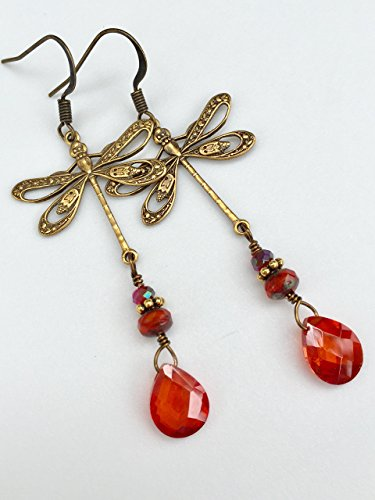 Dragonfly Earrings, Orange Fire Crystal Earrings, Cubic Zirconia Earrings, Antique Brass Dragonflies, Boho Earrings. (Drop Briolette Earrings Zirconia Cubic)