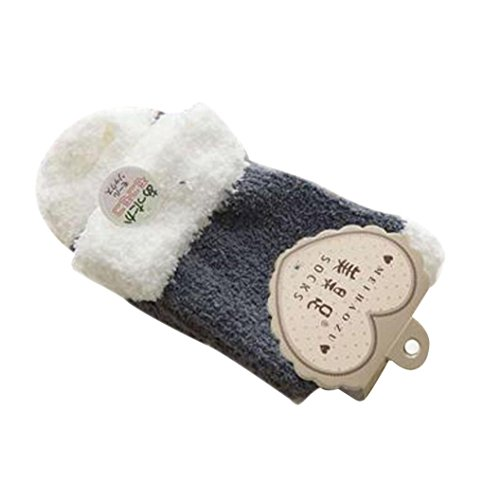 Sagton Women Warm Casual Comfort Coral Cashmere Winter Socks Floor Slipper Socks (Dark Gray) F3uo8W2nL