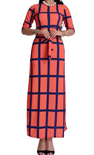 Coolred-femmes Bretelles Manches Longues Col Rond Demi Orange1 Robe De Soirée De Fête À Carreaux