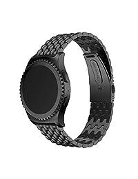 ABC Luxury Genuine Stainless Steel Bracelet Strap Watch Band for Samsung Galaxy Gear S2 Classic SM-732 (Black)