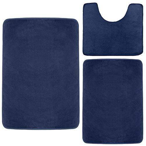 Clara Clark Memory Foam Bath Mat, Ultra Soft Non Slip and Absorbent Bathroom Rug. - Royal Blue, Set of 3 - Small/Large/Contour (Rug Blue Bath Memory Foam)