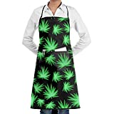 JONHBKD Marijuana Cooking Aprons Chef Apron for Women Men Gifts Kitchen Decorations with Pocket