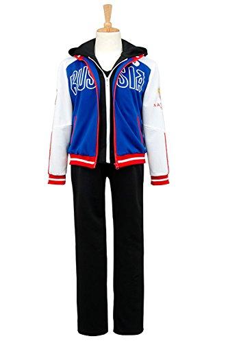 Costhat High School Games Outfit Plisetsky Sports Uniform Sportswear Suit Coat Jacket Cosplay Costume (Medium, Full
