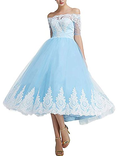 Monalia Womens's Tea Length Tulle Prom Cocktail Dresses Wedding Party Gowns Size 12 Ice Blue