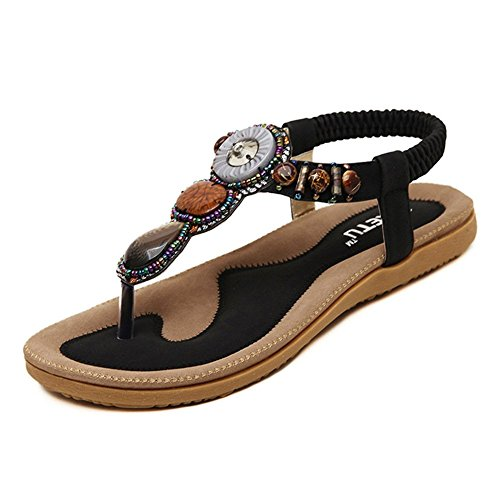 Flip Flop Wedge Beaded - Women's Summer Bohemian Beaded Ankle Walking Strap Sandals Size 6 7 8 9 Casual Flip Flops Ladies Beach Sexy Flats Shoes Black