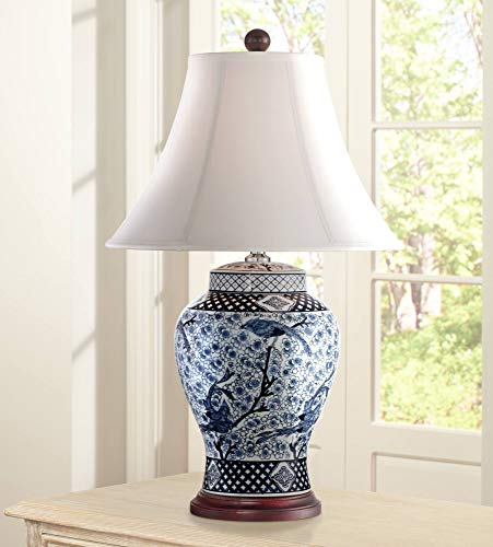 Shonna Traditional Table Lamp Porcelain Blue and White Bird and Branch Jar White Bell Shade for Living Room Family Bedroom - Barnes and Ivy