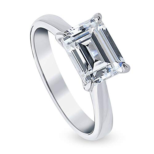 BERRICLE Rhodium Plated Sterling Silver Emerald Cut Cubic Zirconia CZ Solitaire East-West Promise Engagement Ring 2.62 CTW Size 6