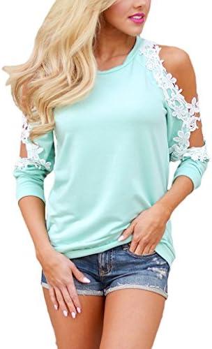 sidefeel Mujeres Floral Encaje ganchillo fría hombro manga larga blusa Tops