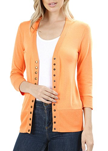 JNTOP Women's 3/4 Sleeve Snap Button Cardigan Sweater Light Olive (Ribbed Detail Cardigan)