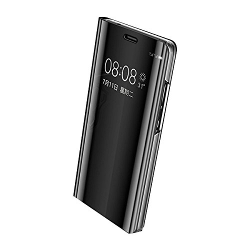 Eari Huawei P10 Case Huawei P10 Plus Case Slim Clear Mirror Stand Protection S-View Flip Cove (Huawei P10 Plus, Black) (Cove Window)
