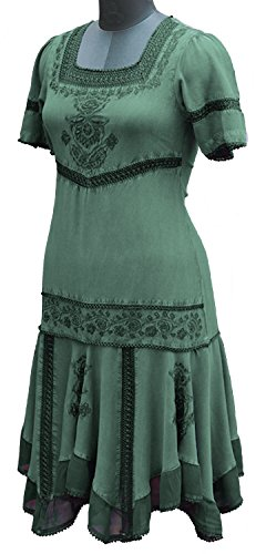 HolyClothing Callie Georgette & Lace Tiered Romance Dress - Large - Jade Green