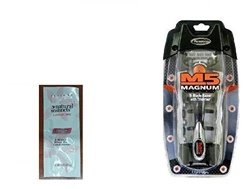 M5 Magnum 5 Razor with Trimmer, 2 Refill Blades and Travel Case with FREE Loving Color trial size conditioner by Magnum M5