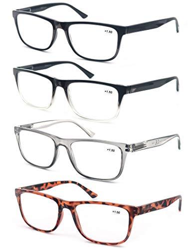 OLOMEE Reading Glasses Oversize Large Square Men Readers 4 Pack,Comfort Lightweight Eyeglasses Flexible Spring Hinge