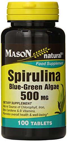 Mason Natural, Spirulina Blue-Green Algae, 500 Mg Tablets, 100-Count Bottles (Pack of 3), Spirulina Supplements Support Overall Health and Wellness, Contain Nutrients Often Missing in Vegetarian Diets by Mason Natural