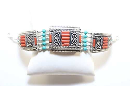 Tibet Handmade Bracelet Crushed/Inlaid Coral and Turquiose Vintage Bangle Nepali Tibetan Himalayas