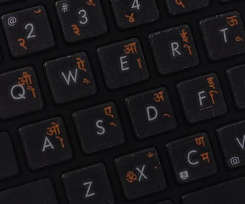 14X14 Hindi Keyboard Labels ON Transparent Background with Orange Lettering