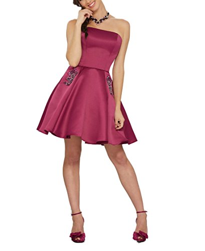 Women's Short Homecoming Pockets Burgundy Strapless Dresses DreHouse With 76qBwq